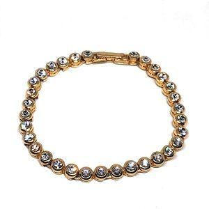 Vintage Avon Gold Tone Crystals Tennis Bracelet